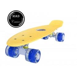 Penny board Mad Cruiser cu roti iluminate-galben