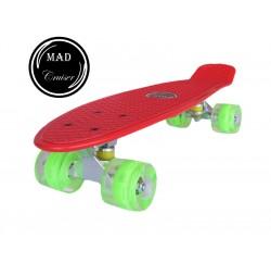 Penny board Mad Cruiser cu roti iluminate-rosu