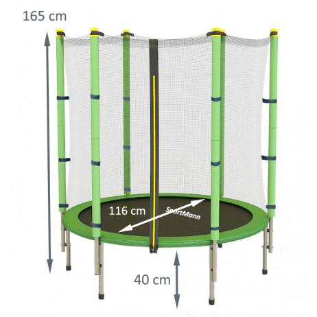 Trambulina si plasa de siguranta Sportmann 140 cm, verde