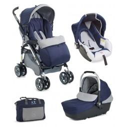 детска количка Plebani D1 Trio с дизайн 3 в 1- Син