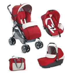 Червена детска количка 3 в 1 Plebani D1 Trio