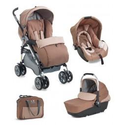 Кафява детска количка Plebani D1 Trio с дизайн 3 в 1
