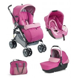 Розова детска количка 3 в 1 Plebani D1 Trio